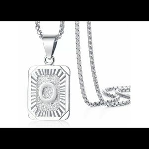 """White Gold Filled Letter O Pendant 20"""" Necklace"""